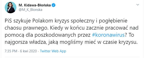 Wybory prezydenckie - Kidawa-Błońska